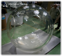 Clear acrylic sybmarine dome bonded from two half spheres by Alternative Plastics Ltd