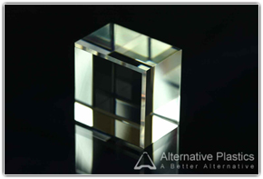 Acrylic block with small chamfer and perfect polished finish.