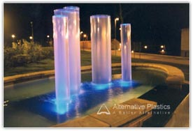Fountain constructed from large cast acrylic tubes